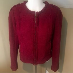 Cabi Women's Cranberry Tweed Lined Jacket SZ 6
